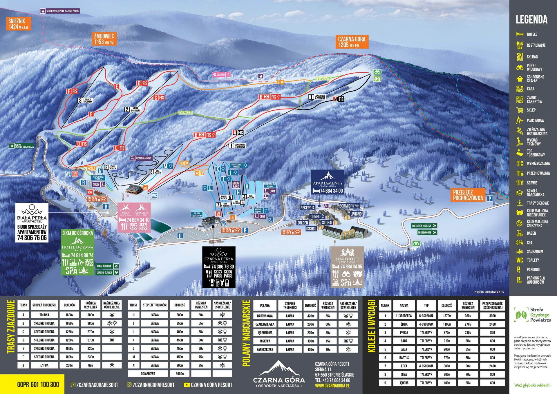 Czarna Góra Resort mapa stoków